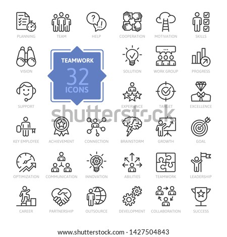 Business teamwork, team building, work group and human resources minimal thin line web icon set. Outline icons collection. Simple vector illustration.