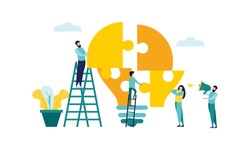 Business teamwork with pieces of puzzle in office. Connecting with puzzle elements vector illustration flat design style
