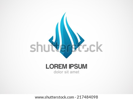Business technology abstract wave vector logo template