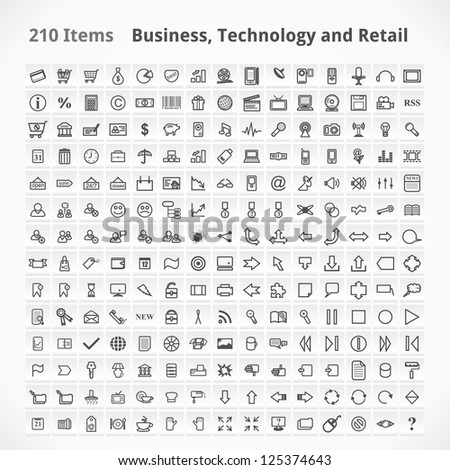 Business, Technology and Retail Items. Icons Set.