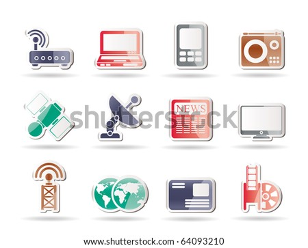 Business, technology  communications icons - vector icon set
