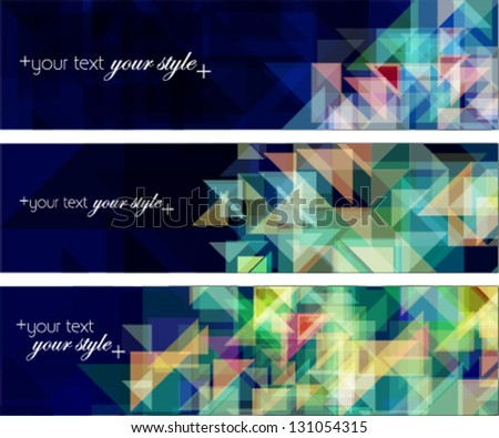 business & technology concept geometric style banners set. header, footer, advertising banners on dark blue background. - stock vector