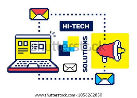 Business techology concept. Vector creative color illustration of opening laptop with icon of megaphone, email on white background. Flat line art pixel retro style design of laptop for web, banner