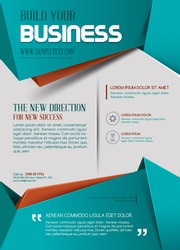 Business template or poster in turquoise color.