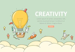 Business template with launch lightbulb. Doodle cute miniature scene about creativity. Hand drawn cartoon vector illustration.
