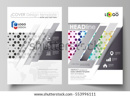 Business templates for brochure, flyer, annual report. Cover template, abstract vector layout in A4 size. Chemistry pattern, hexagonal design molecule structure. Geometric colorful background.