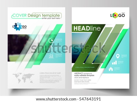Business templates for brochure, magazine, flyer, booklet. Cover design, abstract flat style travel decoration layout in A4 size, easy editable vector template, colorful blurred natural landscape.