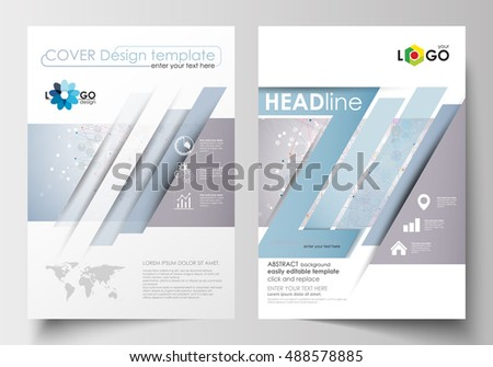 Business templates for brochure, magazine, flyer, booklet. Cover design template, easy editable, flat layout in A4 format. Molecule structure on blue background. Science, healthcare, medical vector.