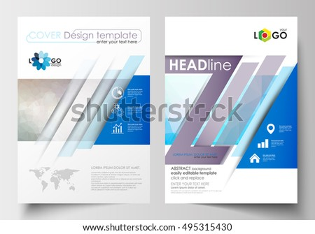 Business templates for brochure, magazine, flyer, booklet. Cover design template, easy editable, flat layout in A4 size. Abstract triangles, blue triangular background, colorful polygonal pattern.