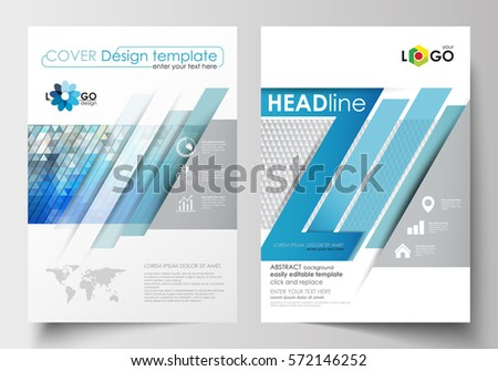 Business templates for brochure, magazine, flyer, booklet. Cover design template, easy editable blank, flat layout in A4 size. Abstract triangles, blue and gray triangular background, polygonal vector