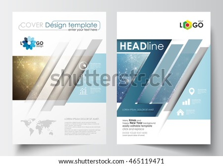 Business templates for brochure, magazine, flyer, booklet or report. Cover design template, easy editable vector, flat layout in A4 size. Christmas decoration, background with snowflakes and stars.