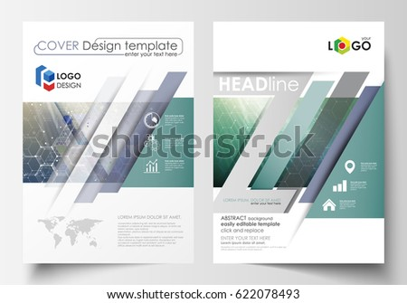 Business templates for brochure, magazine, flyer, booklet, report. Cover design template, vector layout, A4. Chemistry pattern, hexagonal molecule structure. Medicine, science, technology concept.