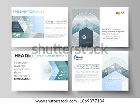 Business templates for presentation slides. Easy editable abstract vector layouts in flat design. Minimalistic background with lines. Gray color geometric shapes forming simple beautiful pattern. #1069377134