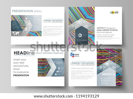 Business templates for presentation slides. Easy editable abstract vector layouts in flat design. Bright color lines, colorful style with geometric shapes forming beautiful minimalist background.