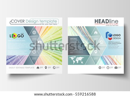 Business templates for square brochure, magazine, flyer, report. Leaflet cover, flat layout, easy editable vector. Colorful background with abstract waves, lines. Bright color curves. Motion design.