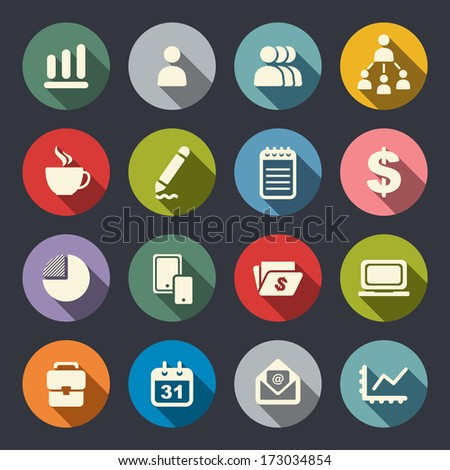 Business theme flat icons