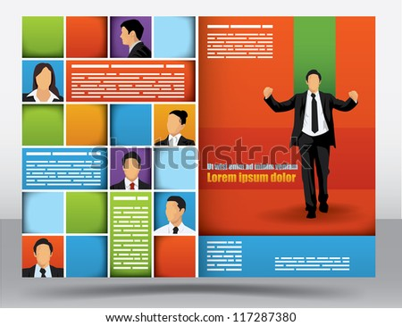 Business themed brochure design template with portraits of businessman and space for different sized text