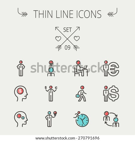 Business thin line icon set for web and mobile. Set includes-head, Euro, US dollar, clock, head, laptop, bulb icons. Modern minimalistic flat design. Vector icon with dark grey outline and offset