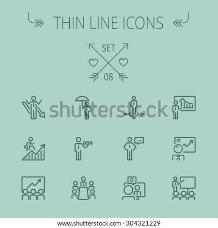 business thin line icon set for