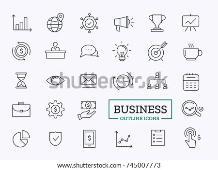 Business thin line icons. Vector outline design symbols for web.