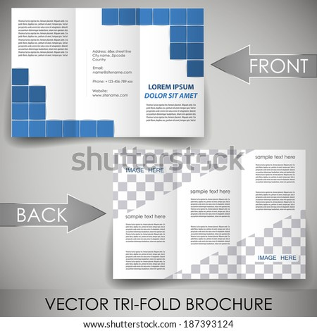 Business three fold flyer template, corporate brochure or cover design/can be use for publishing, print and working presentation with place for your content.