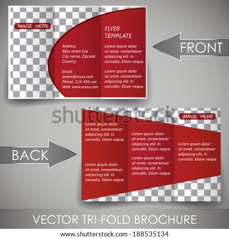 Business three fold flyer template, corporate brochure or cover design/can be use for publishing, print and working presentation, with place for your content. #188535134