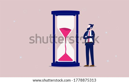 Business time - Bearded businessman standing and looking at hourglass while time goes by. Patience, delay and tolerant concept. Vector illustration.