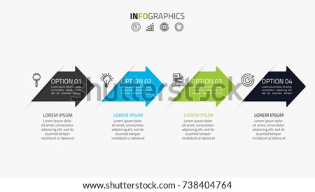 Business timeline infographics template with 4 options, steps, arrow,icons, flowchart,presentation, workflow or process infographics, vector eps10 illustration