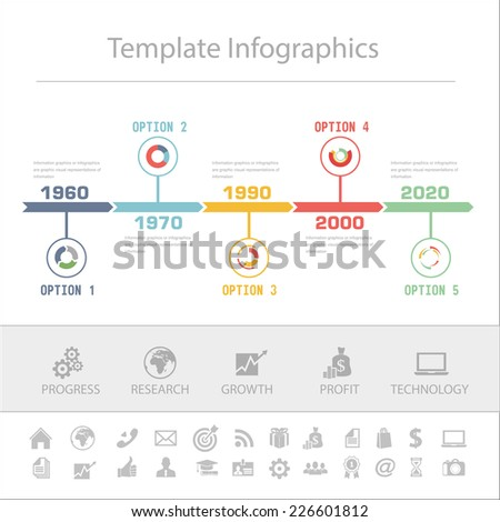Business Timeline Infographics vector design template for financial reports, website, infographic statistics.