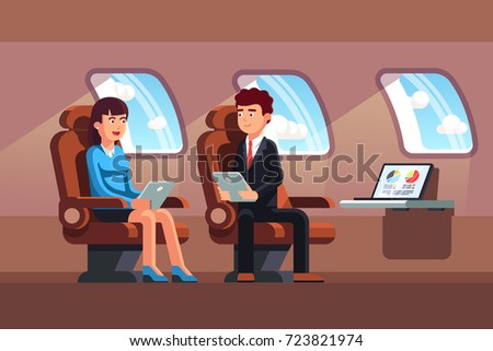 Business top managers man and woman sitting in business jet luxury salon armchair holding tablet computers. Private plane flight. Flat vector illustration.