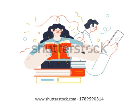 Business topics - advance training, education, skill development. Flat style modern outlined vector concept illustration. Man and woman reading books. Business metaphor.