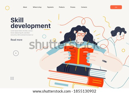 Business topics - advance training, education, skill development, web template. Flat style modern outlined vector concept illustration. Man and woman reading books. Business metaphor.