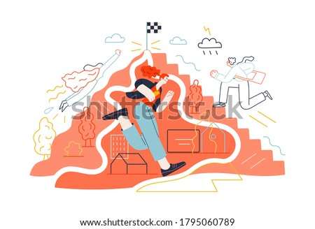 Business topics - career. Flat style modern outlined vector concept illustration. People climbing the mountain. Climbing up the career ladder process. Business metaphor.