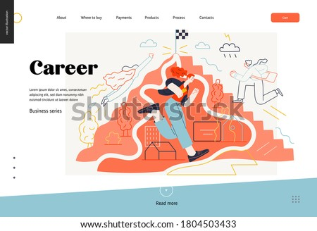 Business topics - career, web template, header. Flat style modern outlined vector concept illustration. People climbing the mountain. Climbing up the career ladder process. Business metaphor.