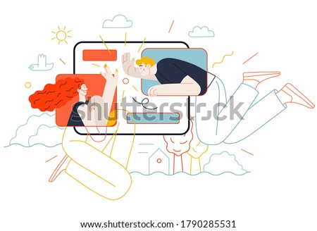 Business topics - chat. Flat style modern outlined vector concept illustration. Tablet screen with messages of chatting couple - young man and woman. Business metaphor.