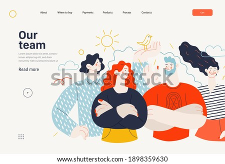 Business topics - crew, our team - web template, header. Flat style modern outlined vector concept illustration. Group of people, creaw, standing together. Business metaphor.