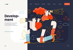 Business topics - development, research, web template. Flat style modern outlined vector concept illustration. Young man looking through the telescope and a woman with binoculars. Business metaphor.