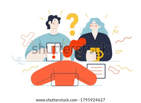 Business topics -meeting. Flat style modern outlined vector concept illustration. People sitting at the office desk discussing a project. Tablet, question and exclamation marks, FAQ Business metaphor.