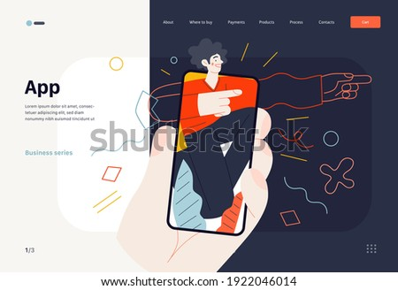 Business topics -mobile application, web template, header. Flat style modern outlined vector concept illustration. A hand holding a smartphone with young man, pointing the direction. Business metaphor