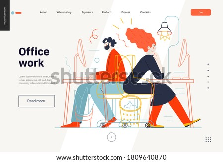 Business topics - office work, web template. Flat style modern outlined vector concept illustration. Man and woman sitting and working at the office desks with desktop computers. Business metaphor.