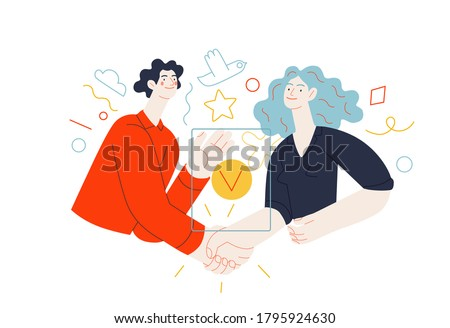 Business topics - partnership. Flat style modern outlined vector concept illustration. Young man and woman shaking their hands confirming the agreement, contract or partnership. Business metaphor.