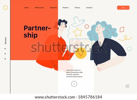 Business topics -partnership, web template header. Flat style modern outlined vector concept illustration. Partners shaking their hands confirming agreement, contract or partnership. Business metaphor
