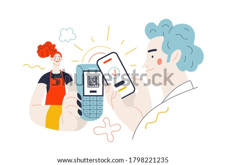 Business topics - payment. Flat style modern outlined vector concept illustration. A waitress holding a pos-terminal. A male customer paying with his phone, scanning QR code. Business metaphor.