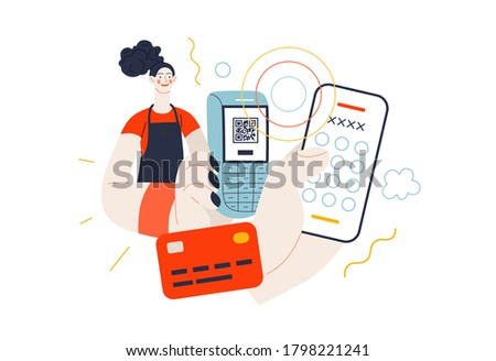 Business topics - payment. Flat style modern outlined vector concept illustration. A waitress holding a pos-terminal. A customer paying with his or her phone, entering a pin code. Business metaphor.