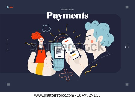 Business topics -payment, web template, header. Flat style modern outlined vector concept illustration. Waitress holding pos-terminal. A customer paying with phone, scanning QR code. Business metaphor