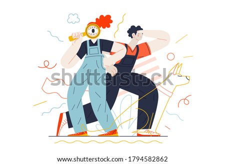Business topics - search. Flat style modern outlined vector concept illustration. Young man looking forward and a woman with a magnifying glass looking through it. Business metaphor.