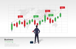 Business trading design concept. Businessman character view and analyze bar chart investment. Buy and sell indicators on the candlestick chart graphic design.