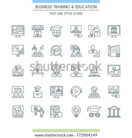 Business training and education thin line icon set. Consulting, learning and teaching. Professional and career growth. Vector illustration