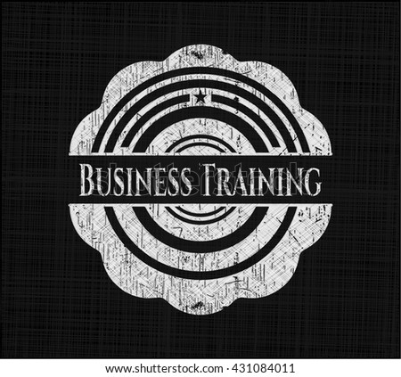 Business Training chalkboard emblem on black board