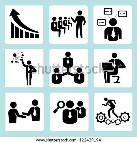 Business Training, Company Management Icon Set Stock